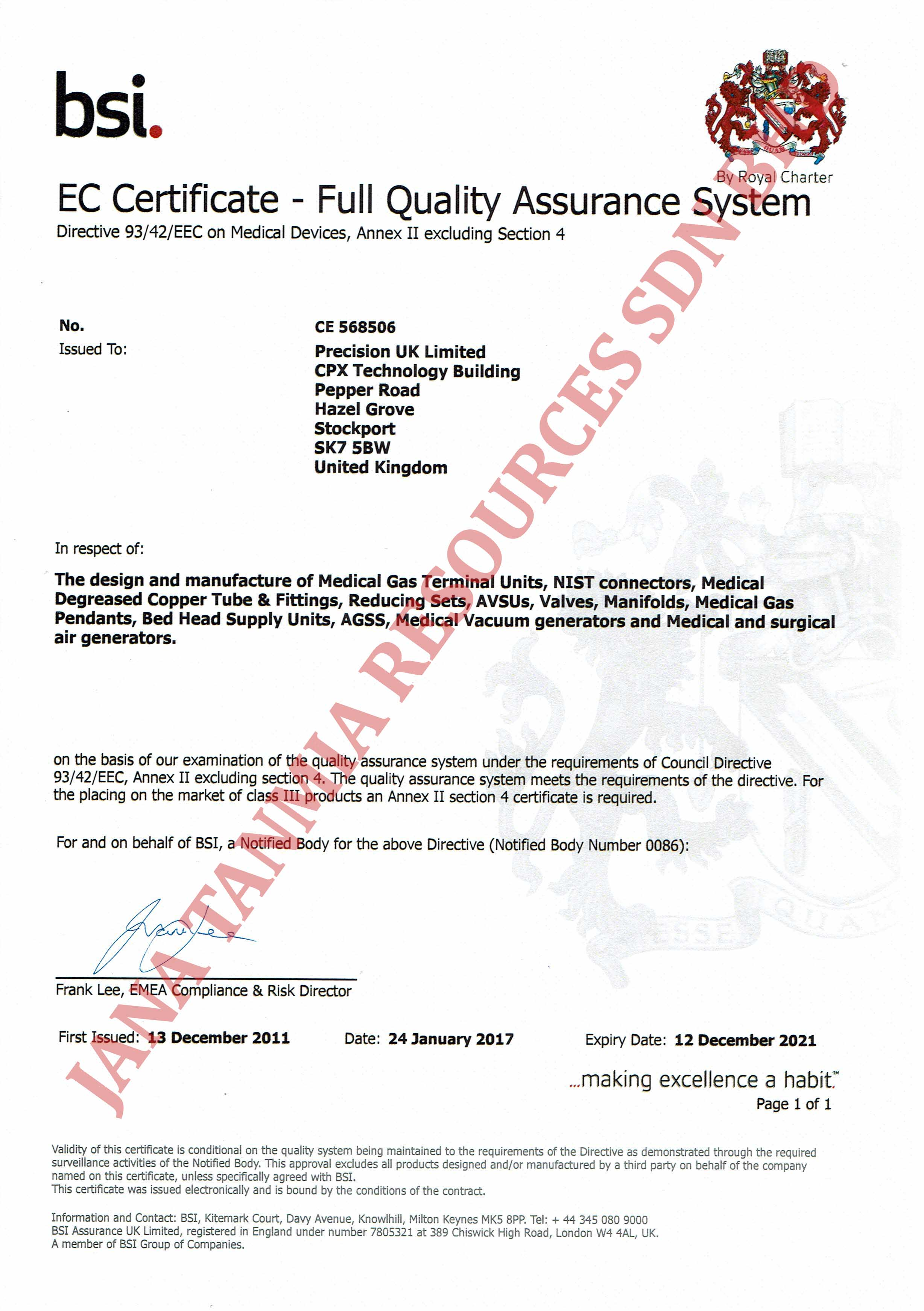 Medical Gas Pipeline Systems Jana Tanmia Resources Sdn Bhd