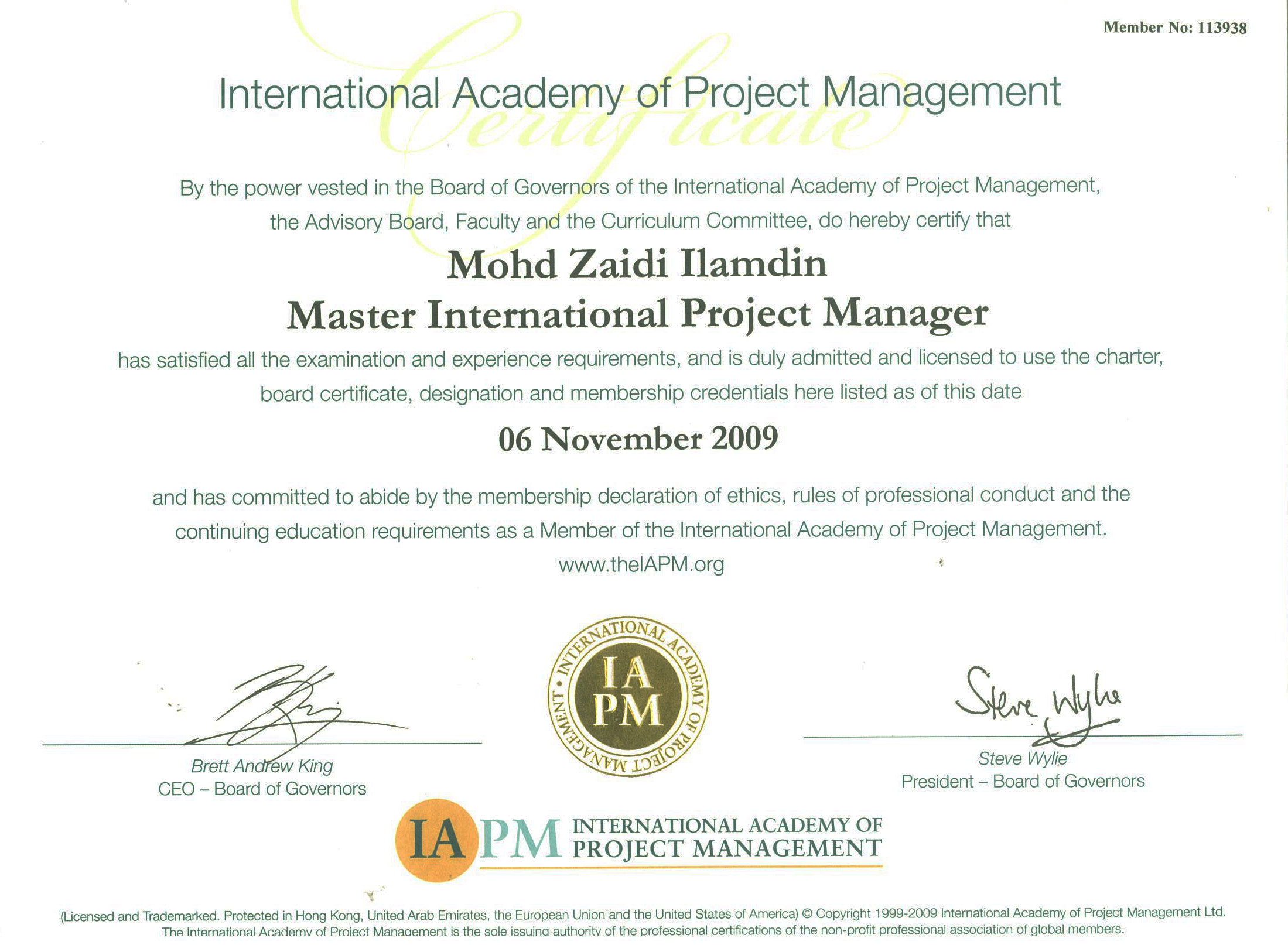 Competency certification jana tanmia resources sdn bhd master international project manager certified energy manager xflitez Image collections